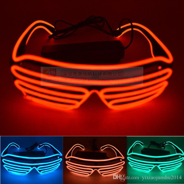 2016 Hot Sale The shutters el glasses Fashion Neon LED Light Up Shutter Shaped Glow Sun Glasses Rave Costume Party DJ Bright SunGlasses