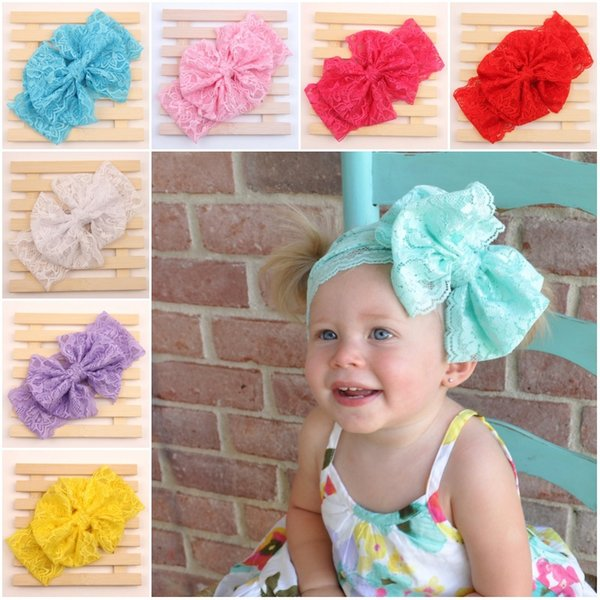 2016new Baby Lace Big bow Headbands Girls Cute 7 colors Hair Band Infant Lovely Headwrap Children Bowknot Elastic Accessories E916