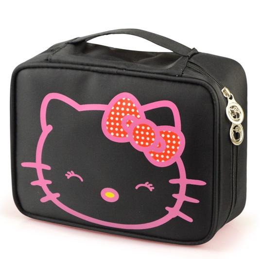 Wholesale- Kitty Large-capacity Cosmetic Bag Korea Hand-held Waterproof High Quality Travel Toiletry Professional Makeup Case
