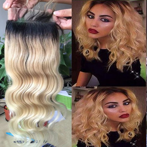 T1b/613 Ombre Brazilian Body Wave Lace Closure 5*5 inch Free Middle 3 Way Part Two Tone Virgin Human Hair Top Closure Bleached Knots