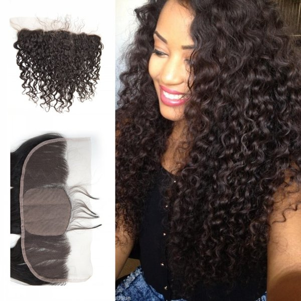 Mongolian Deep Curly Silk Base Lace Frontal Closure 13x4 Ear to Ear Full Lace Frontal Silk Top Closure G-EASY