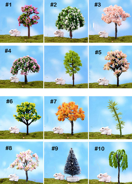 100 Unids Mezclar mini árboles artificiales Sauce Sakura hadas miniaturas de jardín mini terrarios figurines para decoración de jardín al por mayor