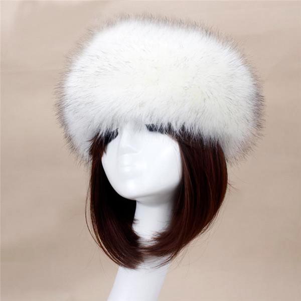 Wholesale- Women Hats 2016 Lady Russian Tick Fluffy Fox Fur Hat Headband Winter  Ski Hat Female Hats For Autumn 022