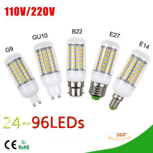6 UNIDS Bombilla LED para Maíz 5730 SMD Lámpara AC 110-220V 7W / 12W / 15W / 18W Para Candelabros Chandlier Iluminación 24leds-72leds luz exterior para interiores