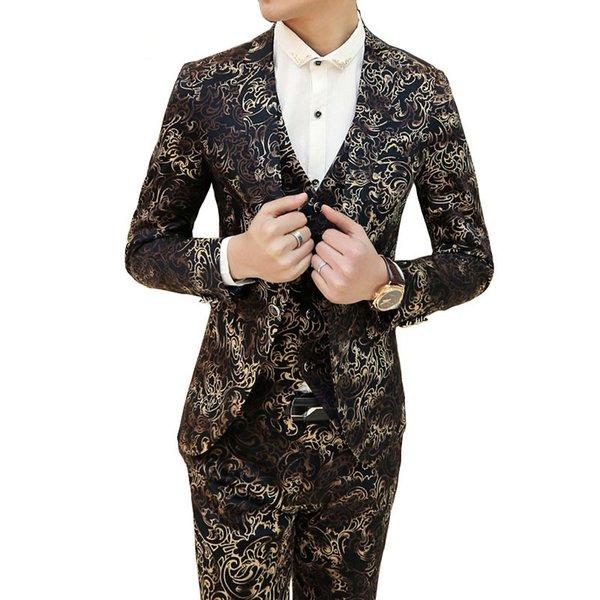 Wholesale- 2016 Wedding Mens Suit Luxury Vintrage Baroque Floral Mens Suits With Pant Vest Jacket Suit For Men Party Wedding Texedo 328