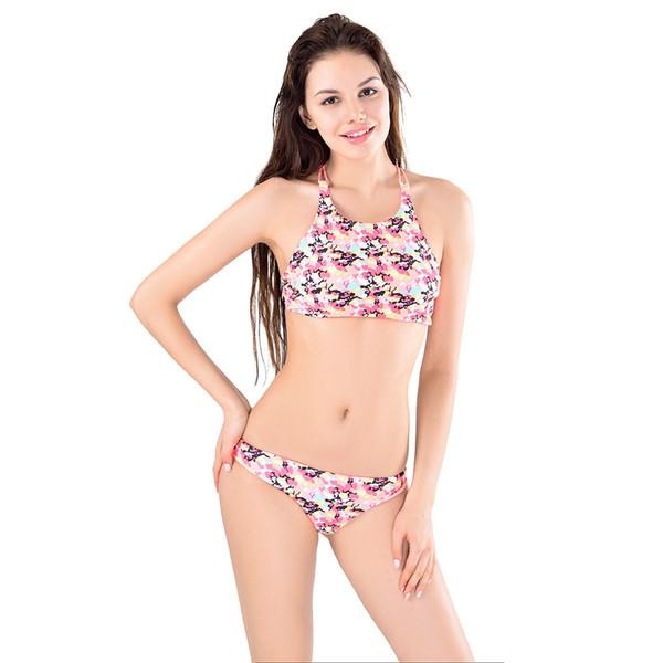 41b8d0117 2016 Vintage Bikinis Womens High Neck Top Bikini Set Sexy Print Push Up  Swimwear Halter Cross
