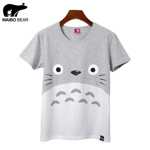 Großhandels-Neuer Frauen-Sommer-beiläufiges lustiges Harajuku Totoro Kurzschluss-T-Shirt Karikatur-Druck-grundlegende T-Shirts Mode-Kawaii übersteigt WAIBO BÄR