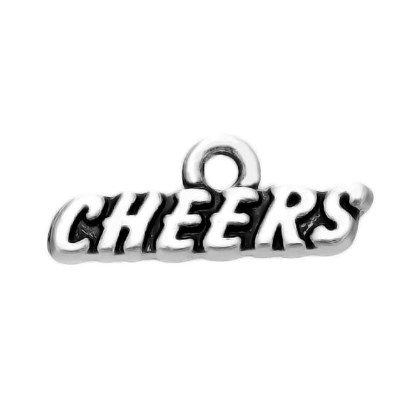 50pcs a lot Zinc Alloy silver plated CHEERS charms pendants