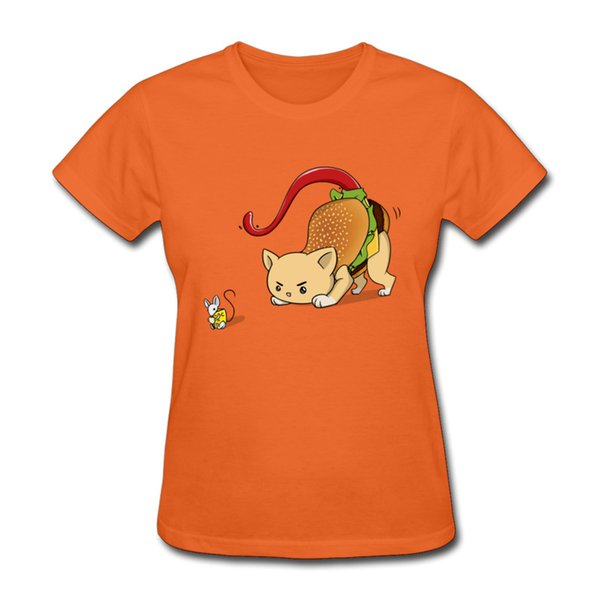 Funny cartoon printed lady t shirt vibrant orange girls tshirts Super soft fabric college style womens clothing Burger Cat