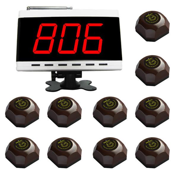 Sistema de llamadas inalámbricas SINGCALL, sistema de llamadas de mesa, para hospitales. Paquete de restaurante de 1 Pc Display blanco y 10 Pcs Table Bells.
