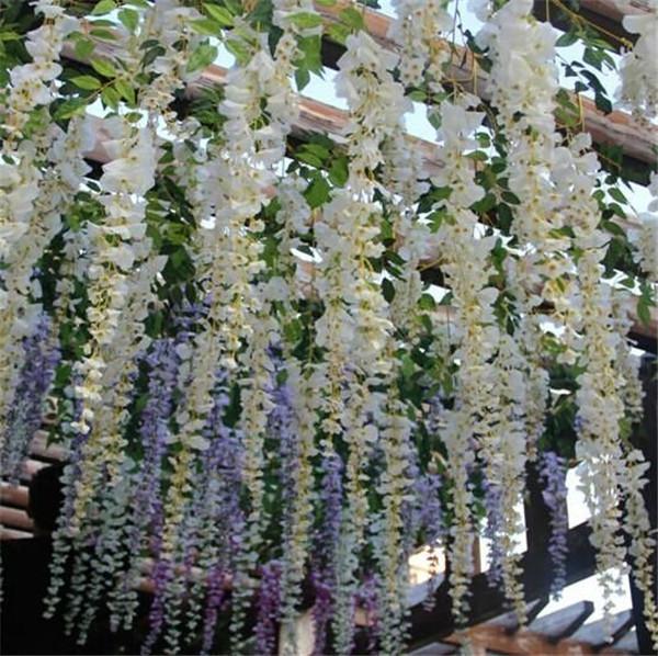 2019 Flores Artificiais Românticas Simulação Wisteria Vine Decorações De Casamento Longo Curto Planta De Seda Bouquet Room Office Jardim Accessorie