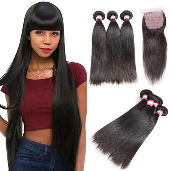 Mongolian Virgin Hair Straight 100% Human Hair Weave Bundles With Silk Base Closure Natural Color Hair Extension Natural Color