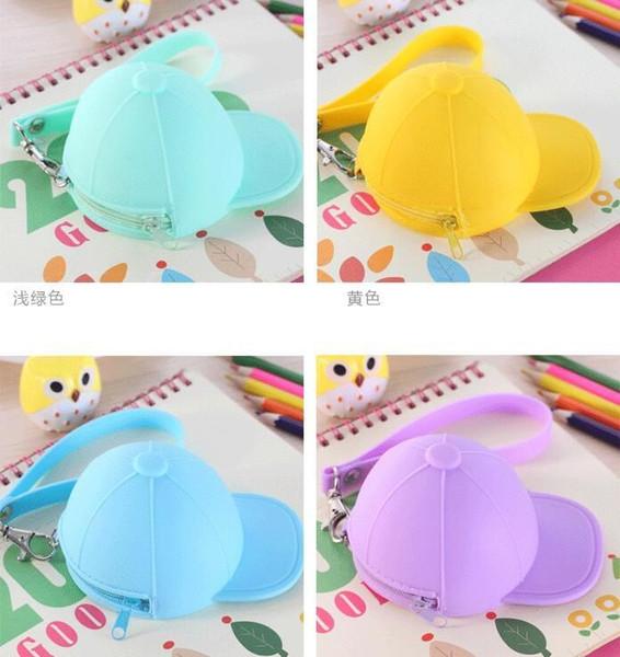 New Cute Coin Purses cartoon candy color Wallets baseball cap coin bag mini hat key silicone female change hand bag free 30pcs