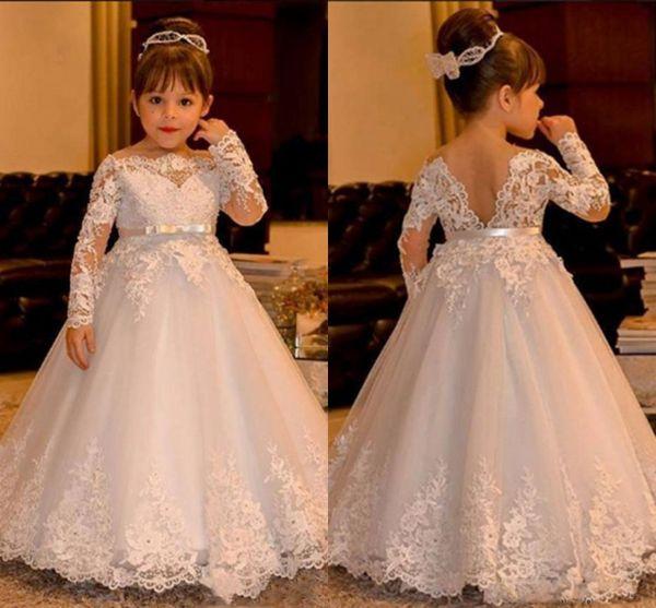 Vestidos de novia de encaje blanco lindo del bebé 2017 de manga larga V sin espalda de tul vestido de bola Vestidos de niña de flores Hasta el suelo Niñas Vestidos del desfile