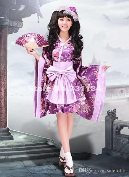2015 New Discount Purple Print Japanese Lolita Kimono Women Cosplay Dress Costume