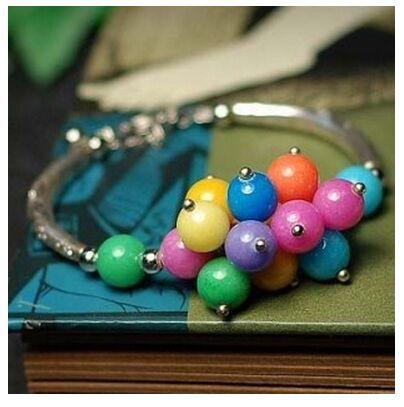 Regali di compleanno / San Valentino Qualità Moda Boemia Argento tibetano / Pietra di Apple / Perline color caramello / Agata nera / Braccialetti con fiore di cristallo