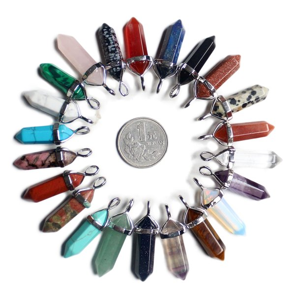 29 Colors Natural Stone Hexagonal Column Pendant Amethyst Gemstone Necklace Pendant Natural Crystal Stone Pendant AXS-A001