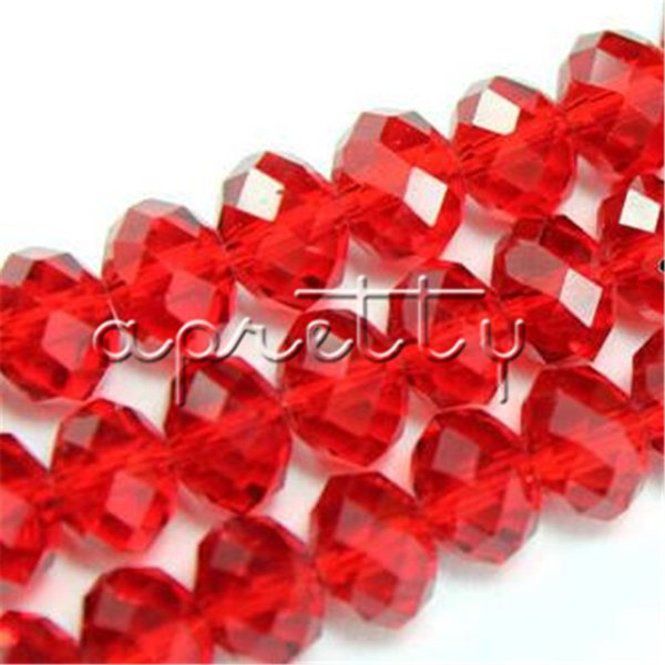 Chinese High Quality Red Color 8mm 72pcs/lot Charm Crystal Glass Loose Beads Spacer Beads For DIY Making or Jewelry Design