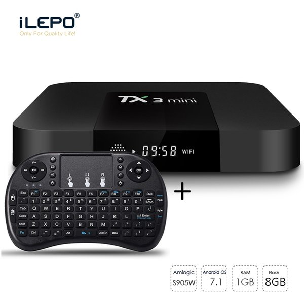 top popular TX3 Mini Smart Set Top TV Box With Air Mouse Keyboard 1G Ram 8G Rom 4K S905W Quad Core Android TV Box 2019
