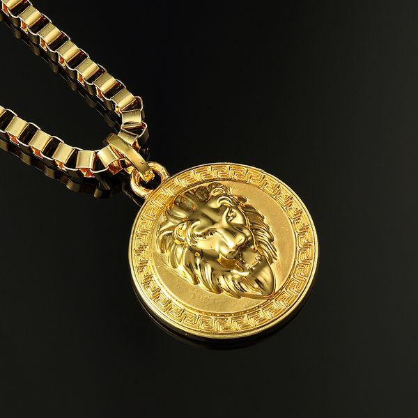 High Quality Gold Silver Plated Hip Hop Men's Punk style Rap Round Lion Head King Pendant Necklace men Rock Rap Necklace Jewelry