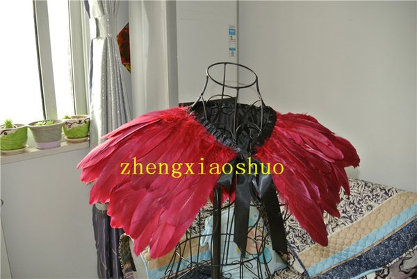 2 Layer Burgundy feathers SHAWL Shrug Shoulders Feathers cape vintage capelet for Adult decor party event supply