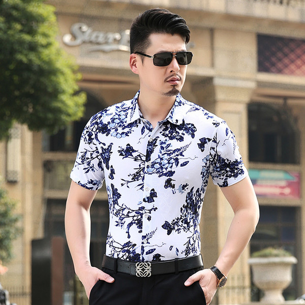 Wholesale-Plus Size 7XL 6XL Floral Men Shirts Cheap Short Sleeve Casual Shirts 5XL Big Size  Top Quality China Imported Men Clothing