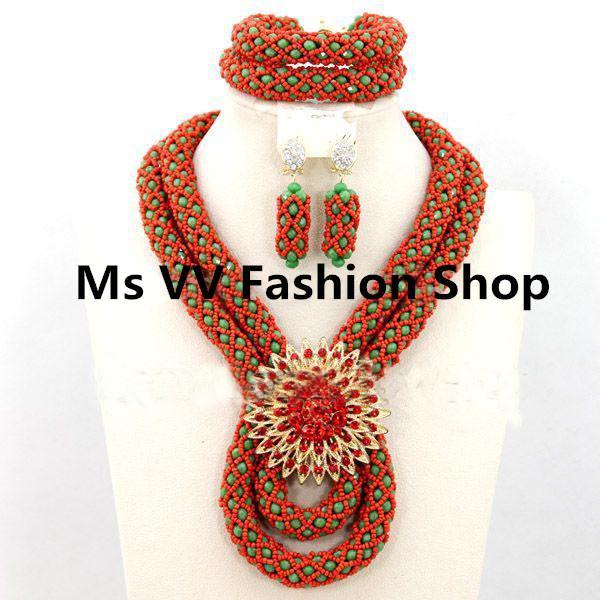 2019 mode rot grün exquisite nigerianischen kristall perlen halskette schmuck-set afrikanischen modeschmuck set großhandelspreis