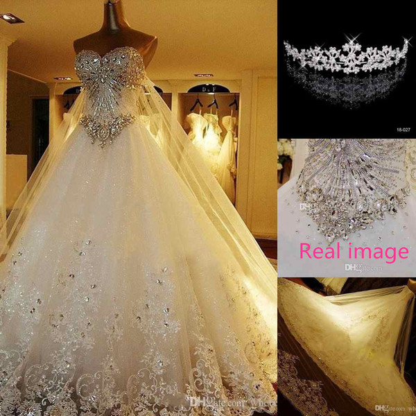 REAL IMAGE Luxury Crystal Wedding Dresses Lace Cathedral Lace-up Back Bridal Gowns 2016 A-Line Sweetheart Appliques Beaded Garden Free Crown