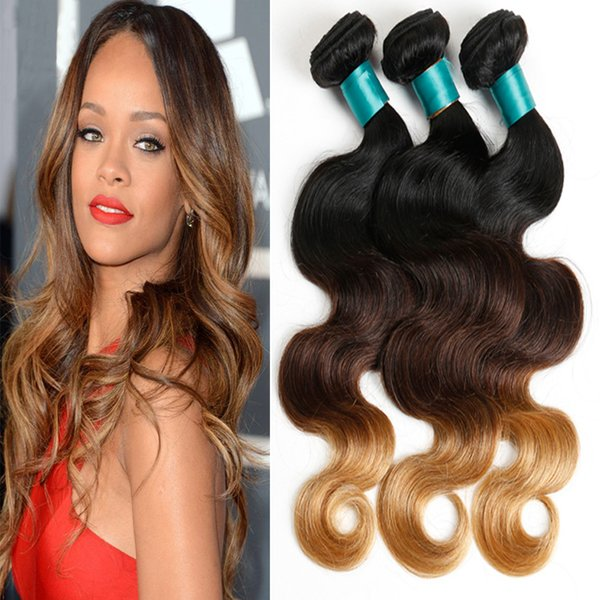 ombre human hair 1b/4/27# body wave 4 pieces unprocessed brazilian virgin hair bundles with brown lace closure for black women wholesale