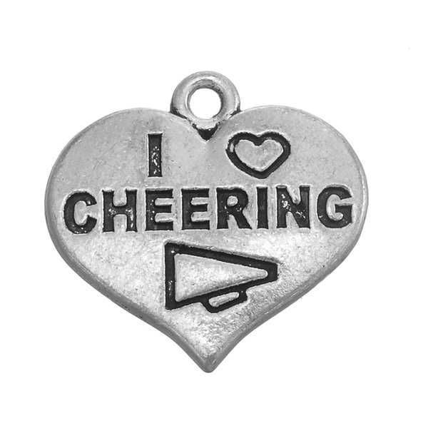 NEW arrivel 50pcs a lot antique silver plated I love cheering heart-shaped pendant charm