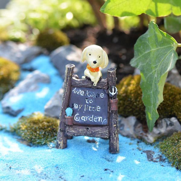 2pcs Dog Billboard Statue Fairy Garden Miniatures Terrarium Figurines Bonsai Tool Resin Craft Gnomes Jardin Home Accessories DIY