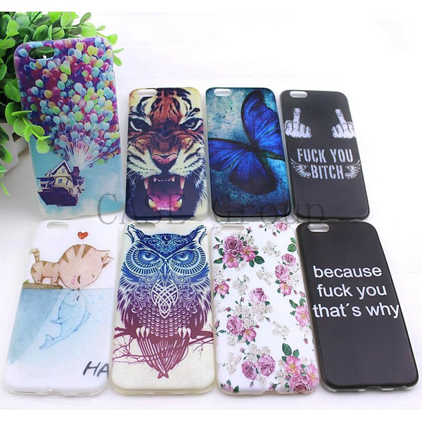 Wholesale-For Apple iPhone 6 4.7 inch Phone Protective Back Skin Cover new cute cat kiss fish tiger owl pattern painting Soft TPU Case