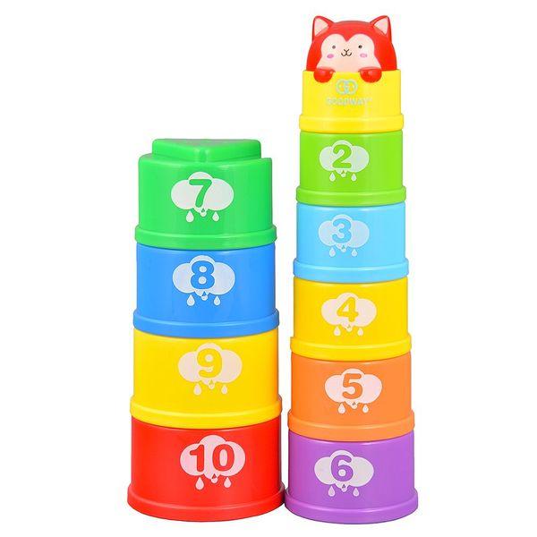 GOODWAY G108 tazas de apilamiento número de cuenta de aprendizaje Torre de baño de juguete juguetes para niños pequeños Bloques de construcción calientes educativos para niños