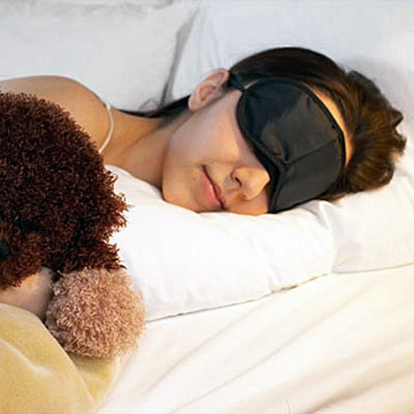 best selling Black Soft Eye Mask Shade Nap Cover Blindfold Mask for Sleeping Travel Soft Polyester Mask