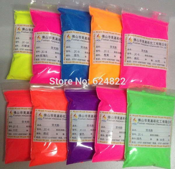 best selling Wholesale- 50g mixed 5colors Pastel Magenta Neon Fluorescent Pigment for Cosmetics, Nail Polish, Soap Making, Candle Making, Polymer Clay