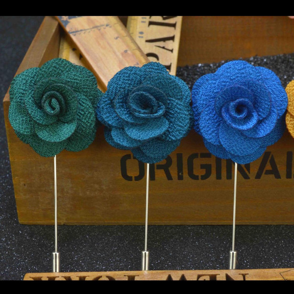 S Size Cheap Fashion Solid Color Flower Brooch Lapel Pins Handmade Boutonniere Stick Fabric Flowers for Gentleman Suit Wear Men Accessories