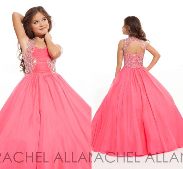 Lovely Angel Girl Pageant Dresses 2018 Keyhole Back with Beads Princess Organza Kids Junior Gowns Custom Made