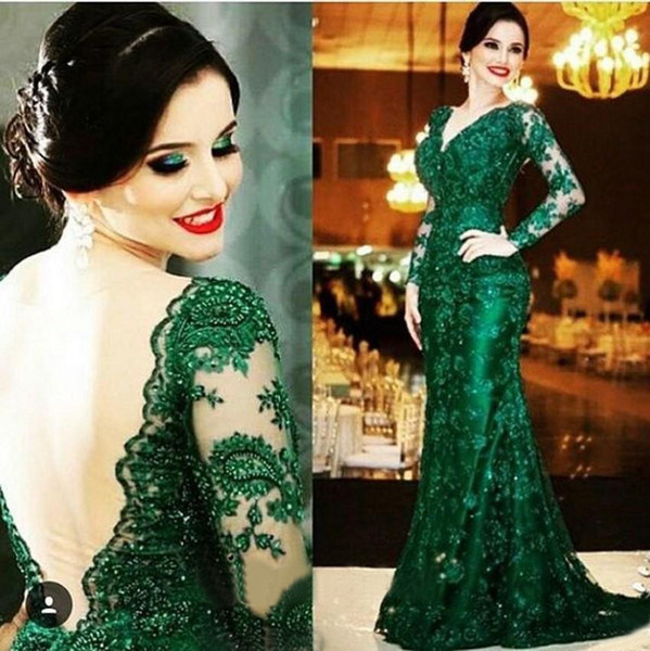 Vintage 2016 Dark Green Full Lace Mermaid Evening Dresses Sexy Illusion Back Beaded V Neck Long Sleeve Formal Gowns Custom Made EN823