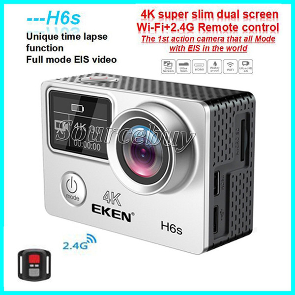 top popular High Quality EKEN H6S Sport Camera 2.0+0.95 Dual Screen Full Mode EIS Video 4K WIFI 170 Super Lens Waterproof Action Cameras 2021