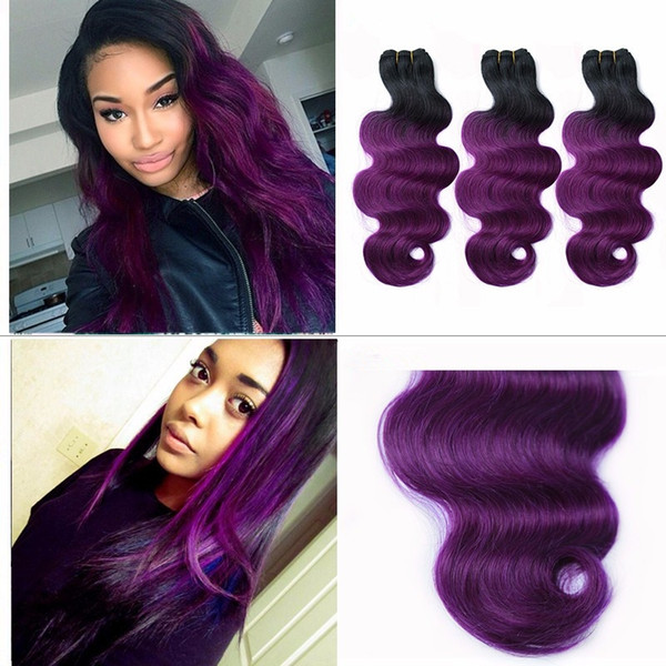 cheap sale 1b purple dark root ombre brazilian body wave wavy two tone human hair weave weft extensions 3pcs lot DHL free shipping