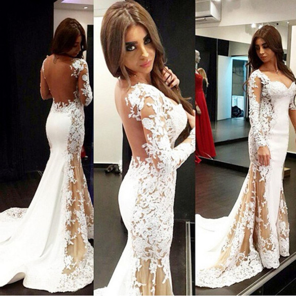 Glamorous Mermaid Evening Dresses Sexy Lace Prom Dress Long Sleeves Mermaid Appliques Prom Gowns Sheer Lace Evening Gowns