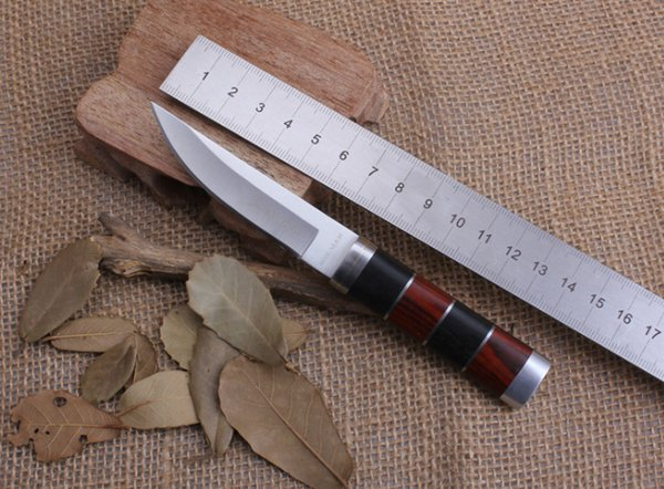 Fine Mini Fixed Blade Knife 3Cr13Mov Wood+Cuprum Handle Survival Pocket Knife Collection Gift For Friends Camping Hunting Knives