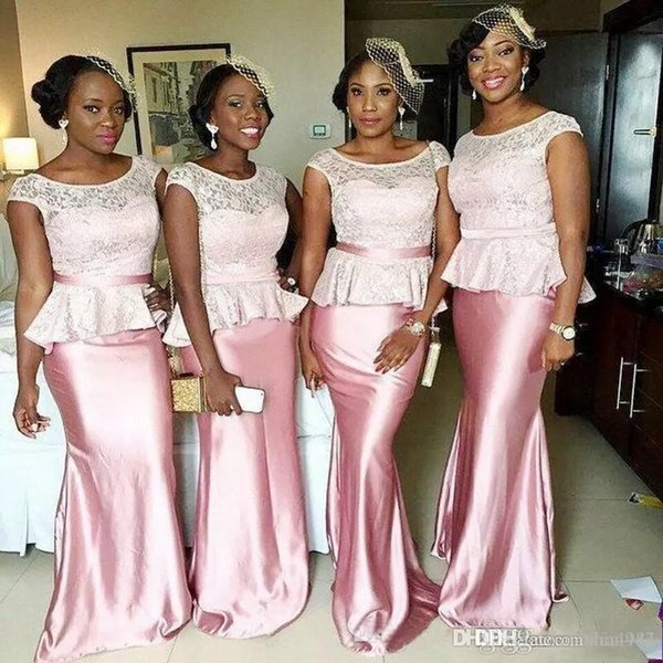 Sexy African Short Sleeve Plus Size Mermaid Bridesmaid Dresses with Peplum 2017 Modest Lace stain Fishtail Holiday Junior Bridesmaid Gowns