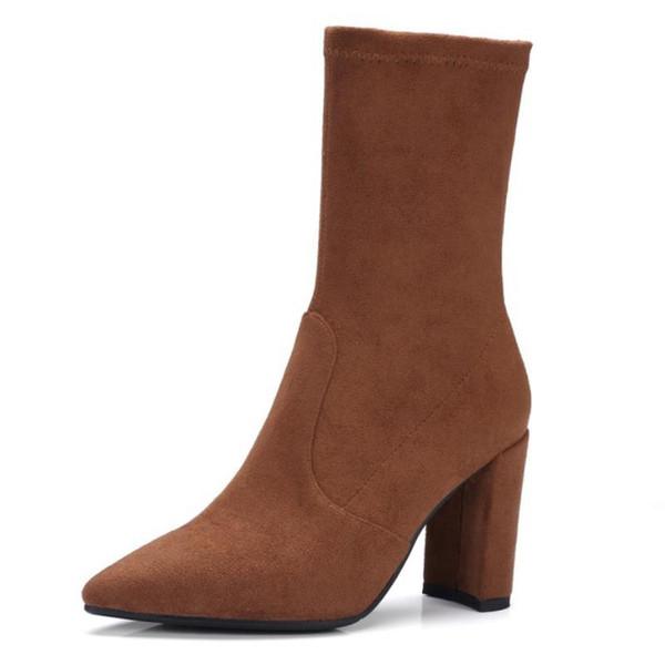 Echtes Leder Mitte Kalb Spitz High Heels Stiefel Mode Büro Damen Slip auf elastische Schuhe Frauen Größe 33-39