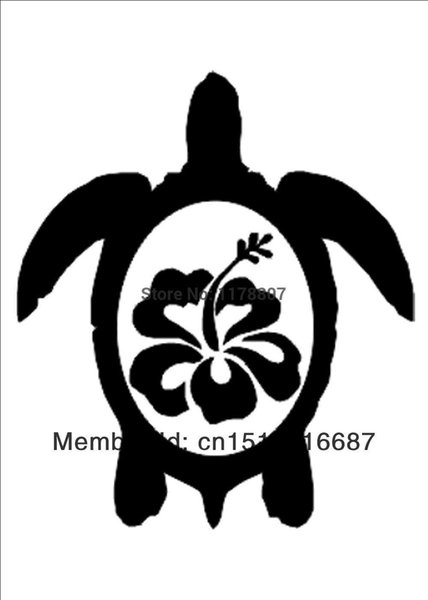 Wholesale 20pcs/lot Decorations Automobile Motorcycle Vinyl Decal Car Glass window Stickers Jdm Hawaiian Sea Turtle With Hibiscus Sticker