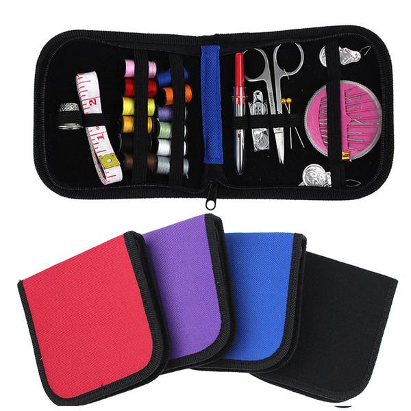 4 Colors New DIY 12 Needle Tape Stooage Scissor Thimble set Multifunction Threads Sewing Kits Portable Useful Travel Home Tools
