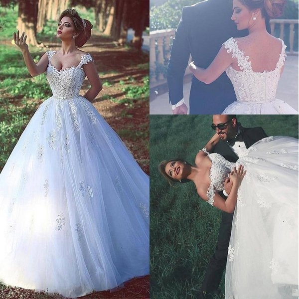 2017 Arabic Said Mhamad Wedding Dresses Sweetheart Cap Sleeves Lace Appliques Dubai Beaded Cheap Bridal Dress
