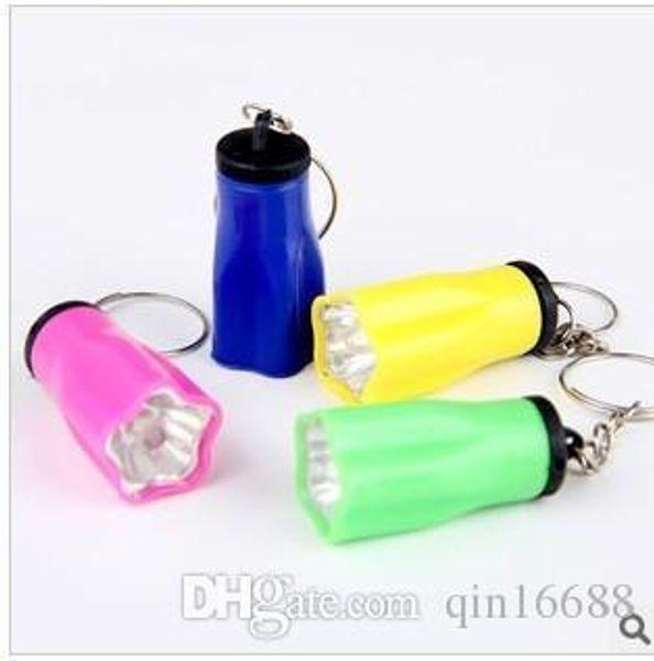 2016 Plum 1 LED Mini Keychain super bright flashlight Torch Flower Shape Key Chain Ring Mixed Colors free ship