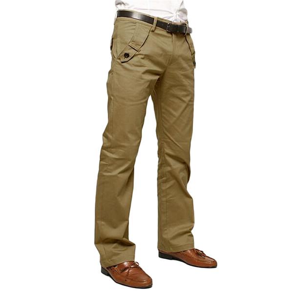 Atacado- HOT Office Trabalho Calças Formais Homens Moda Zipper Up Magro Negócios Calças 2017 New Black Khaki Cinza Pantalon Homme Com Bolsos