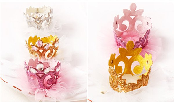 Top Quality 20pcs/lot Baby Girls Felt Barrettes Tiara Side Hair Clip Princess Crown with Glitter Tulle Gold Silver Hair Clip